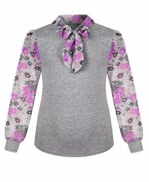 Школьный джемпер (блузка) для девочки с шифоном Цвет: серый