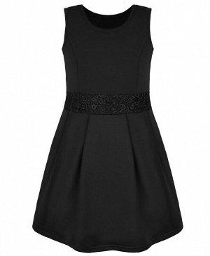 Школьный чёрный сарафан для девочки Цвет: черный
