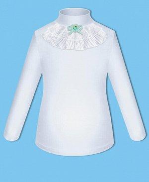 Школьная водолазка (блузка) блузка для девочки Цвет: белый+гол. бант