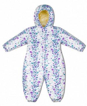 Комбинезон утепленный для малышей Цвет: бел+фиолет