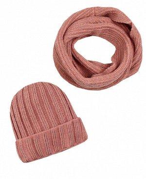 Комплект для девочки (шапка + снуд) Цвет: гр.розовый