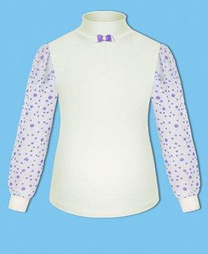 Молочная школьная водолазка (блузка) для девочки Цвет: экрю