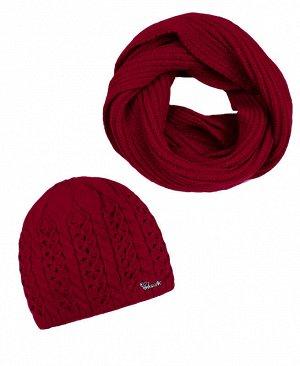 Комплект для девочки (шапка + снуд) Цвет: красный