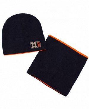 Комплект шапка+снуд на мальчика Цвет: т.синий