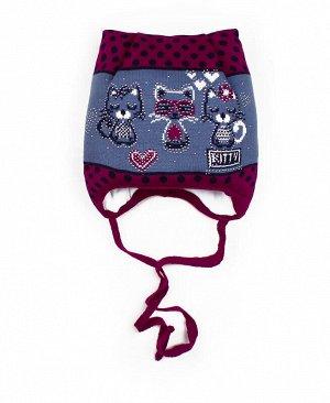 Шапка для девочки на синтепоне Цвет: фиолетовый
