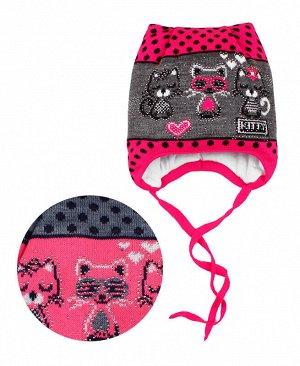 Шапка для девочки на синтепоне Цвет: яр.розовый