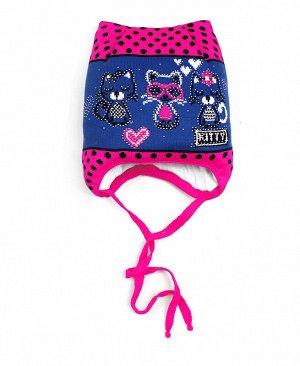 Шапка для девочки на синтепоне Цвет: голубой