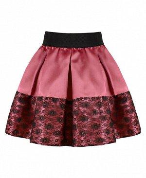 Коралловая нарядная юбка для девочки в складку Цвет: тёмно-коралловый