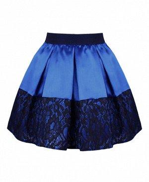 Синяя нарядная юбка в складку для девочки Цвет: синий