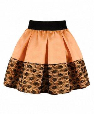 Нарядная юбка для девочки в складку Цвет: светло-оранжевый