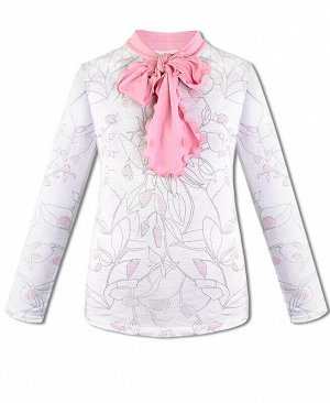 Школьный джемпер (блузка) для девочки Цвет: белый