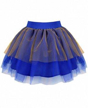Синяя нарядная юбка из сетки для девочки Цвет: синий
