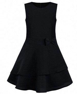 Школьный черный сарафан с бантом для девочки Цвет: черный