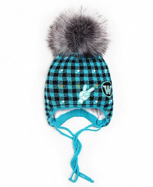 Детская зимняя шапка для мальчика Цвет: бирюзовый