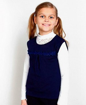 Школьный синий жилет для девочки Цвет: т.синий