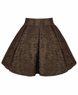 Юбка нарядная для девочки Цвет: коричневый