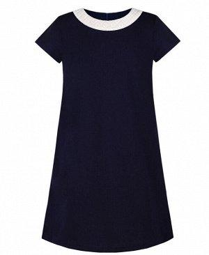 Синее школьное платье для девоки Цвет: синий