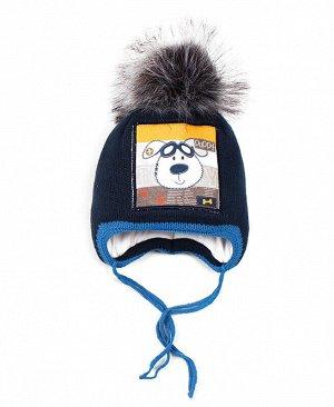 Детская шапка для мальчика Цвет: индиго