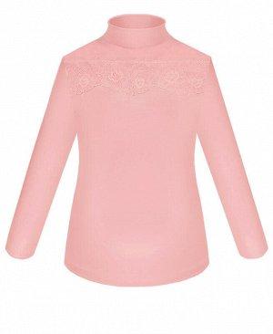 Розовая школьная водолазка (блузка) для девочки с кружевом Цвет: розовый