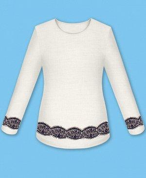 Белый джемпер (блузка) с кружевом для девочки Цвет: белый