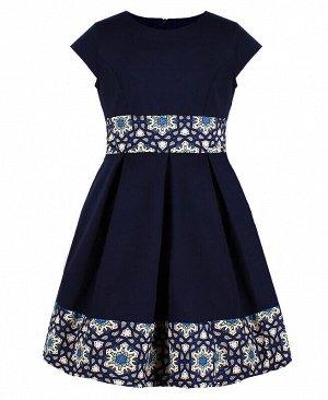 Школьное синее платье для девочки с отделкой Цвет: синий
