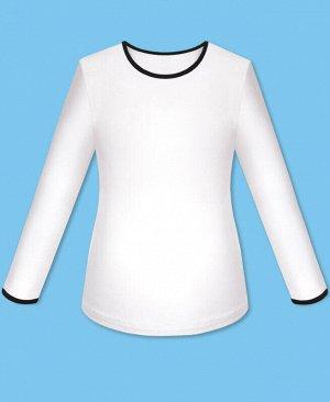Школьный белый джемпер(блузка) для девочки и окантовкой Цвет: белый