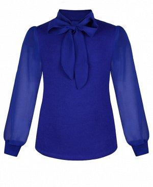 Синий джемпер (блузка) для девочки с галстуком Цвет: синий