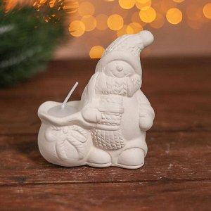 Набор для творчества свеча под раскраску «Снеговик в шарфике» краски 4 шт. по 3 мл, кисть