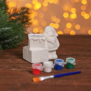 Набор для творчества свеча под раскраску «Подарки» краски 4 шт. по 3 мл, кисть