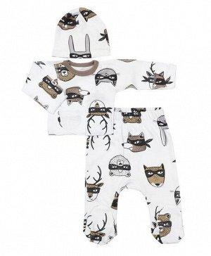Комплект Состав: 100% хлопок (интерлок) Костюм для новорожденных от VEDDI изготовлен из 100% хлопка, трикотаж. Швы наружу, ползунки с высокой резинкой, на рукавах антицарапки. Качественные кнопки и по