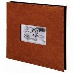 """Фотоальбом BRAUBERG """"Premium Brown"""" 20 магнитных листов 30х32 см, под кожу, коричневый, 391185"""