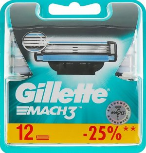 GILLETTE MACH3 Cменные кассеты для бритья 12шт