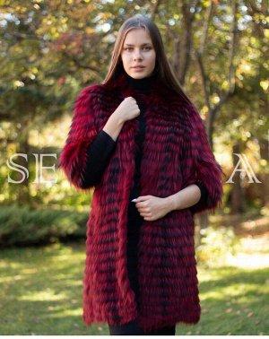 Пальто из лисы росшив RED