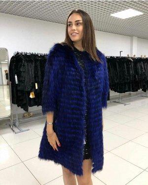 Пальто из лисы росшив Blue