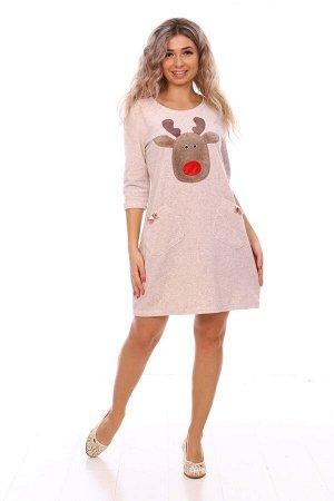 Платье Платье домашнее женское из махры с аппликацией «Оленёнок». Платье полуприлегающего силуэта, с О-образным вырезом горловины, с втачным рукавом 3/4 и двумя накладными карманами с декоративными ба