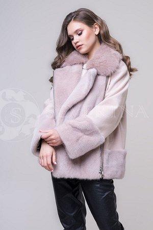 Куртка из пальтовой ткани с отделкой песцом и норкой в бежевом цвете
