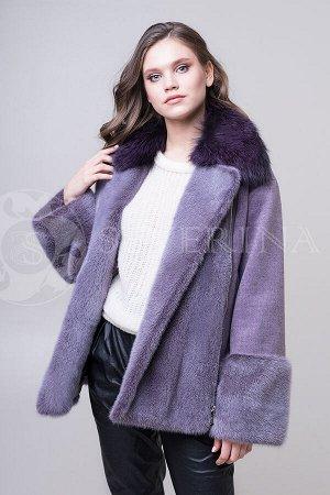 Куртка из пальтовой ткани с отделкой песцом и норкой в сиреневомцвете