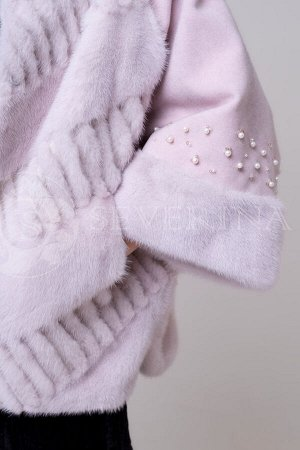 Жакет из пальтовой ткани с норкой