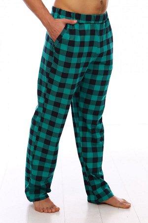 Брюки мужские 1269 шотландка зеленый