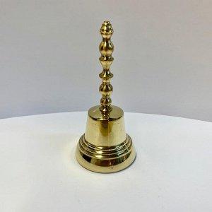Колокольчик латунный с длинной ручкой диаметр 55 мм, высота 115