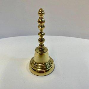 Колокольчик латунный с длинной ручкой диаметр 40 мм, высота 90 мм