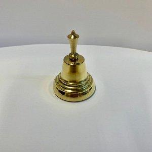 Колокольчик латунный с короткой ручкой диаметр 40 мм, высота 60 мм
