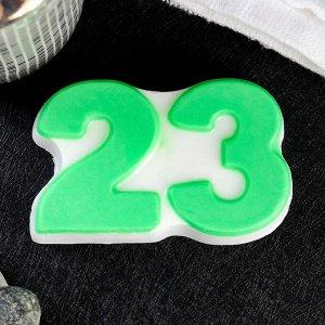 """Мыло фигурное """"23"""" зелёное на белом, 95гр"""