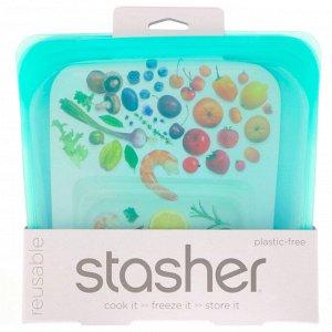 Stasher, Aqua, многоразовый силиконовый контейнер для еды, удобный размер для бутербродов, средний, 450 мл (15 жидк. унций)