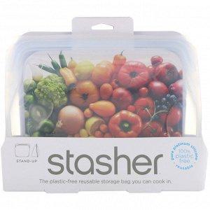Stasher, Многоразовая силиконовая сумка для еды, сумка-стойка, прозрачная, 56 эт. унция. (128 г)