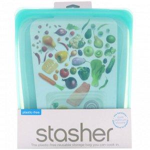 Stasher, Многоразовый силиконовый контейнер для еды, объем в полгаллона, голубой, 1,92 л (64,2 жидк. унции)