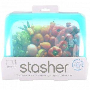 Stasher, Многоразовый силиконовый контейнер для еды, с устойчивым дном, голубой, 128 г (56 жидк. унций)