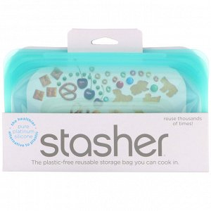Stasher, Многоразовый силиконовый контейнер для еды, удобный размер для перекусов, маленький, голубой, 293,5 мл (9,9 жидк. унции)