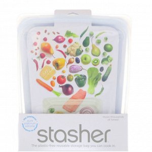 Stasher, Многоразовый силиконовый пищевой контейнер на пол галлона, прозрачный, 1,92 л (64,2 жидк. унции)