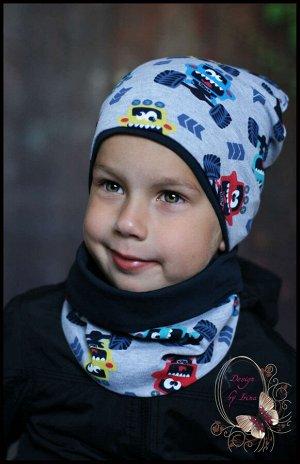 Комплект для мальчика хлопковый «Траки» (серый)